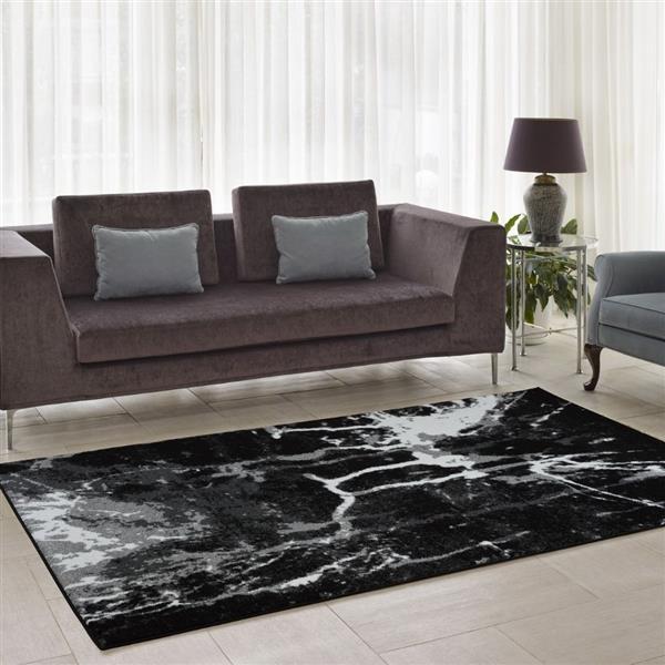 Tapis «Anise» de La Dole Rugs(MD), 5' x 8', noir/blanc