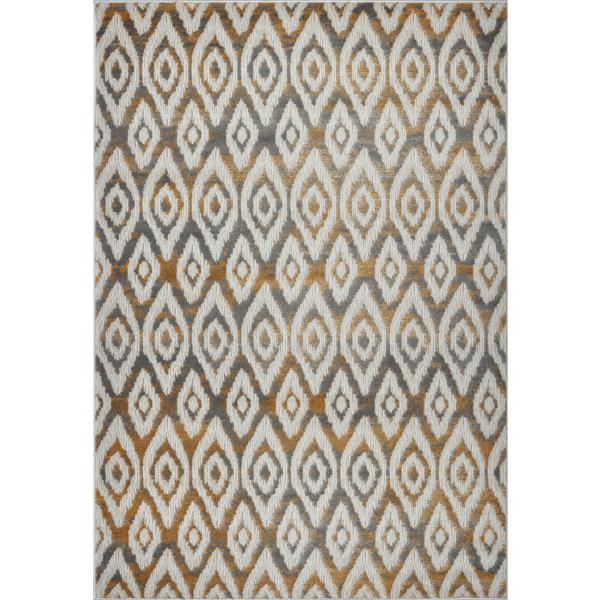 Tapis géométrique moderne «Bolivya», 5' x 8', gris