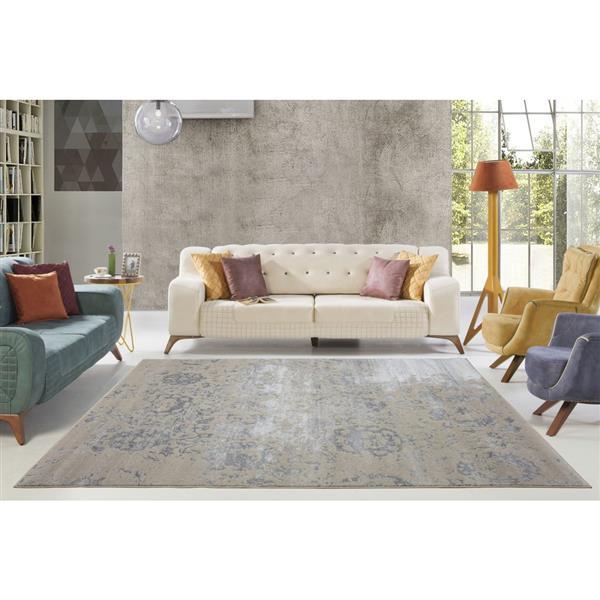 La Dole Rugs® Cherine Modern Carpet - 4' x 6' - Cream/Grey