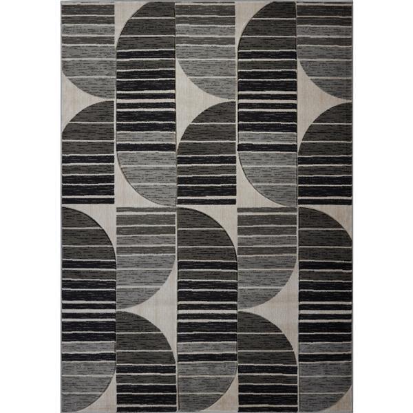 Tapis moderne de La Dole Rugs(MD), 5' x 7', gris foncé/noir