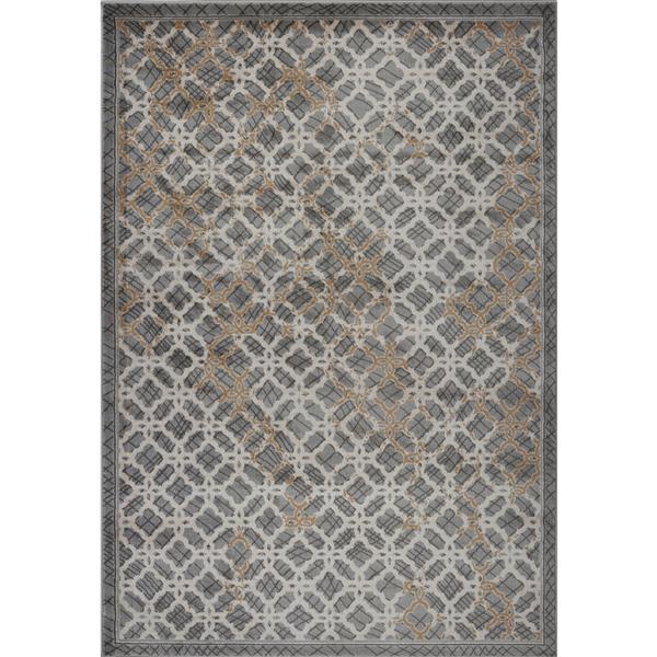 Tapis moderne de La Dole Rugs(MD), 7' x 10', gris foncé/gris