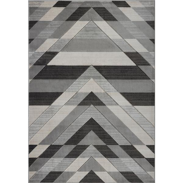 Tapis moderne de La Dole Rugs(MD), 3' x 5', gris/noir