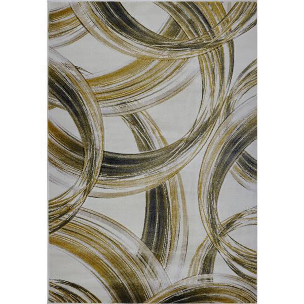 La Dole Rugs® Modern Area Rug - 5' x 7' - Cream/Gold