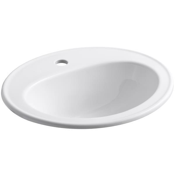 """Lavabo encastré, 17,5"""" x 8,5"""", porcelaine, blanc"""