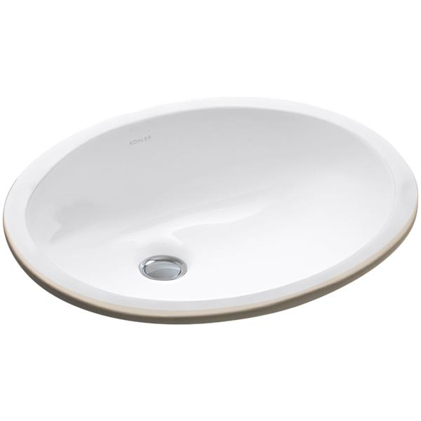 """Lavabo sous-comptoir Caxton, 14"""" x 7,5"""", porcelaine, blanc"""