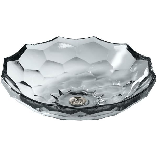KOHLER Briolette Vessel Sink - 17.5-in x 4.75-in - Glass - Clear