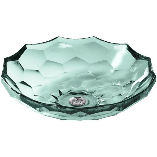 KOHLER Briolette Vessel Sink - 17.5-in - Glass - Clear