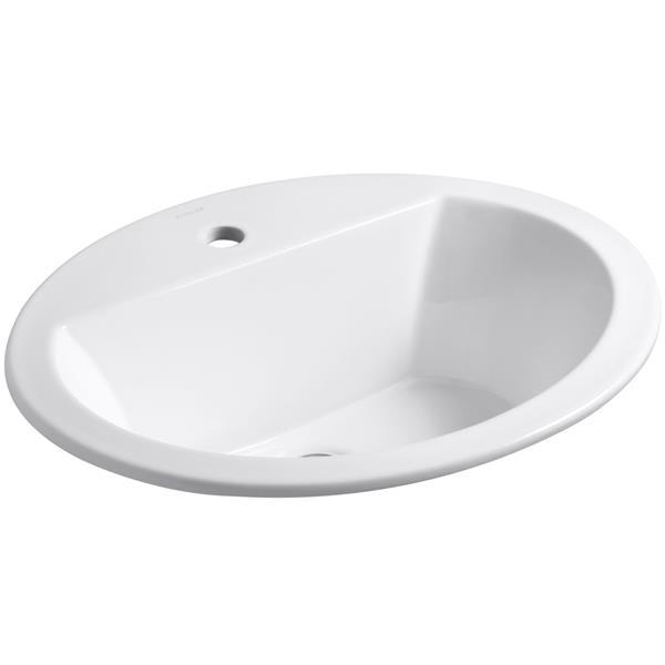 KOHLER Bryant Drop-in Sink - 16.5-in x 7.63-in - Porcelain - White
