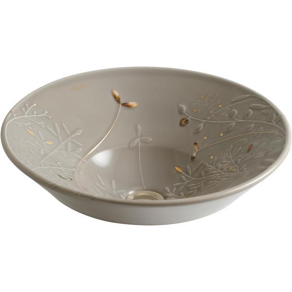KOHLER Gilded Meadow Sink - 16.25-in x 6.38-in - Porcelain - Beige