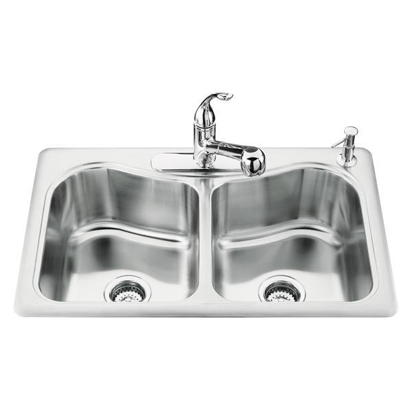 KOHLER Staccato Drop-in Double Kitchen Sink - 33-in - Silver