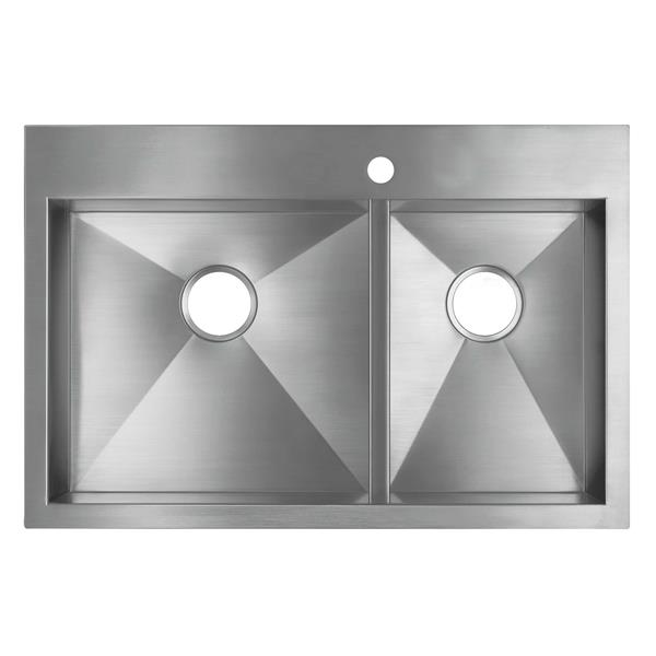 KOHLER Vault Drop-in Double Kitchen Sink - 33-in - Silver