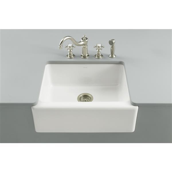 KOHLER Alcott Undermount Single Kitchen Sink - 25.25-in - White