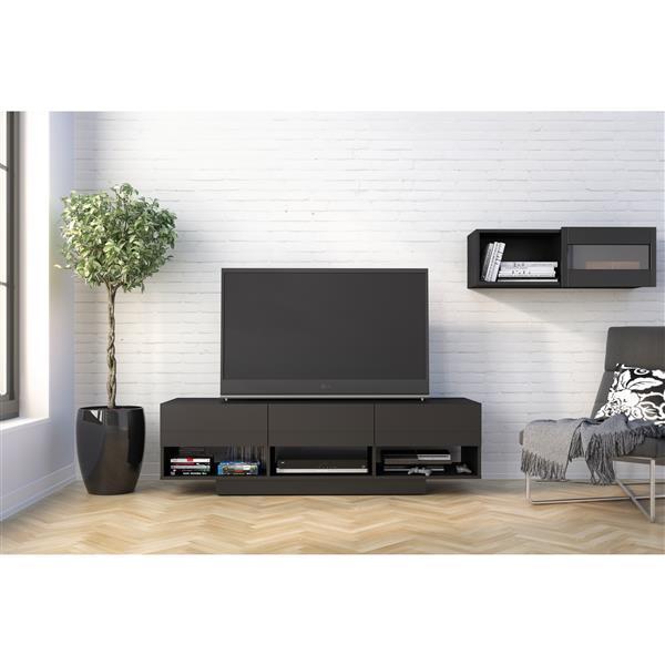 Ensemble meuble télé et étagère, noir, 2 morceaux