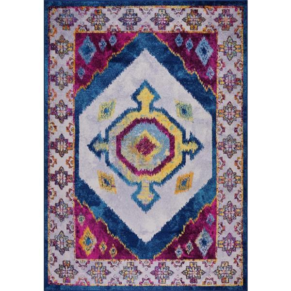Tapis traditionnel «Huma Ikat», 4' x 6', violet/bleu