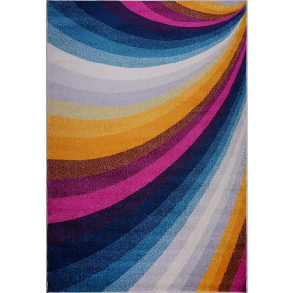 Tapis opale abstrait rectangulaire, 8' x 11', multicolore