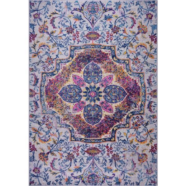La Dole Rugs® Maya Traditional Rectangular Area Rug - 5' x 8' - Blue/Pink