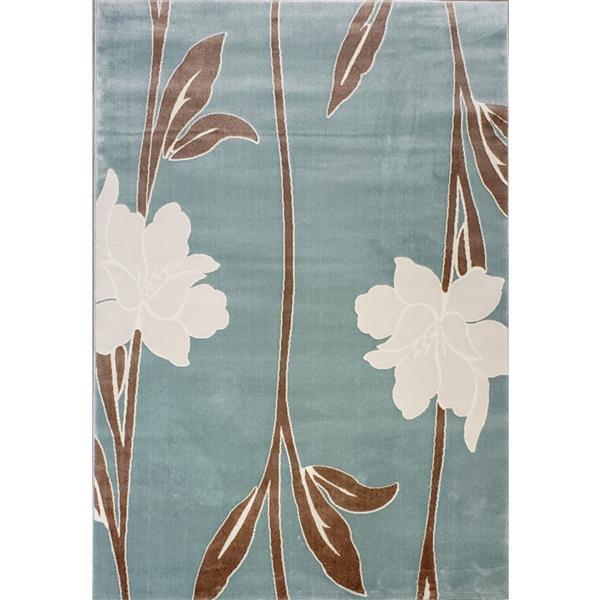 La Dole Rugs®  Gray Floral Contemporary Area Rug - 7' x 10' - Blue