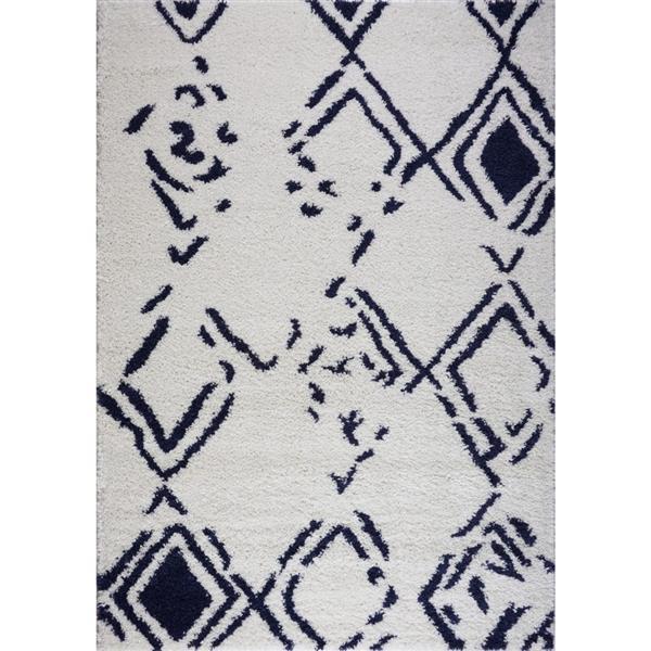 Tapis à poil long abstrait «Kenitra», 5' x 8', blanc/bleu