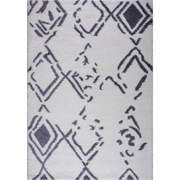 Tapis à poil long abstrait «Kenitra», 7' x 10', blanc/gris