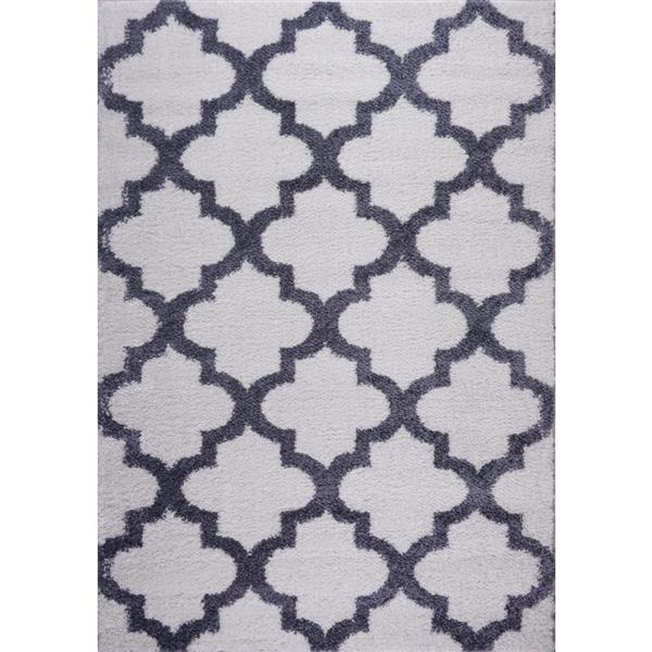 Tapis à poil long abstrait «Fes», 7' x 10', gris foncé/blanc