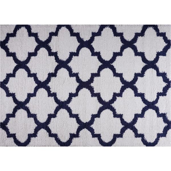 La Dole Rugs® Shaggy Fes Abstract Area Rug - 7' x 10' - Dark Blue/White
