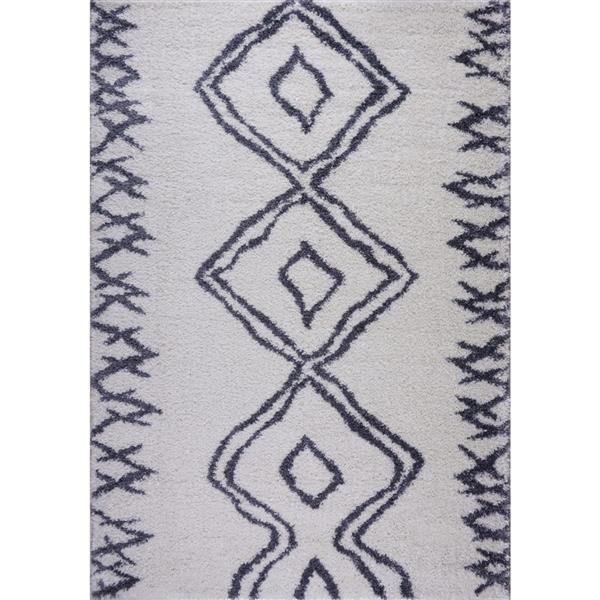 Tapis à poil long abstrait «Casablanca», 4' x 6', bleu/blanc