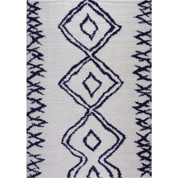 Tapis à poil long abstrait «Casablanca», 3' x 10', bleu