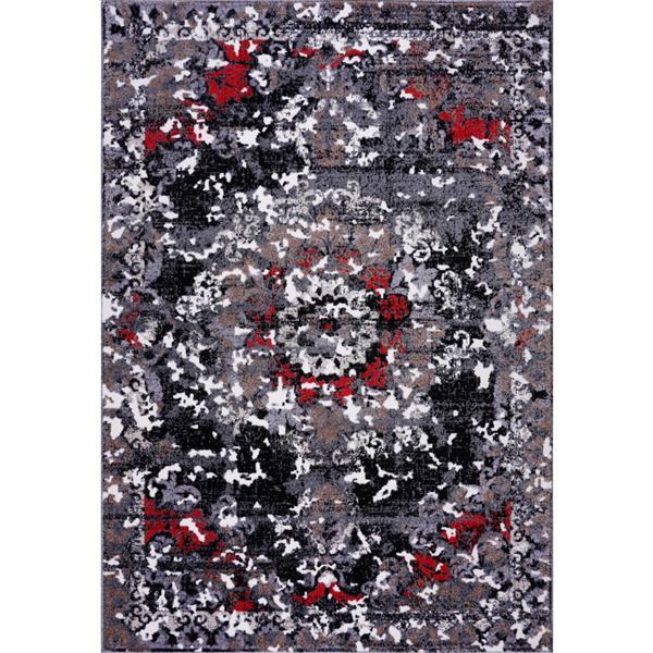 La Dole Rugs®  Grayton Classic Rectangular Area Rug - 4' x 6' - Grey/Red