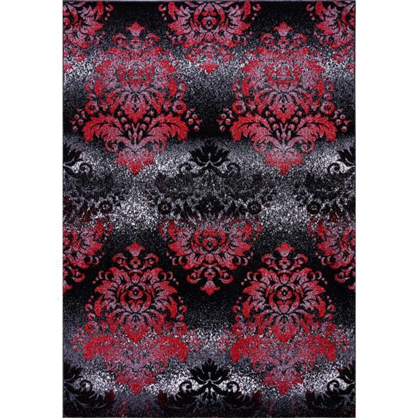 Tapis damassé rétro rectangulaire «Milan», 8' x 11', noir