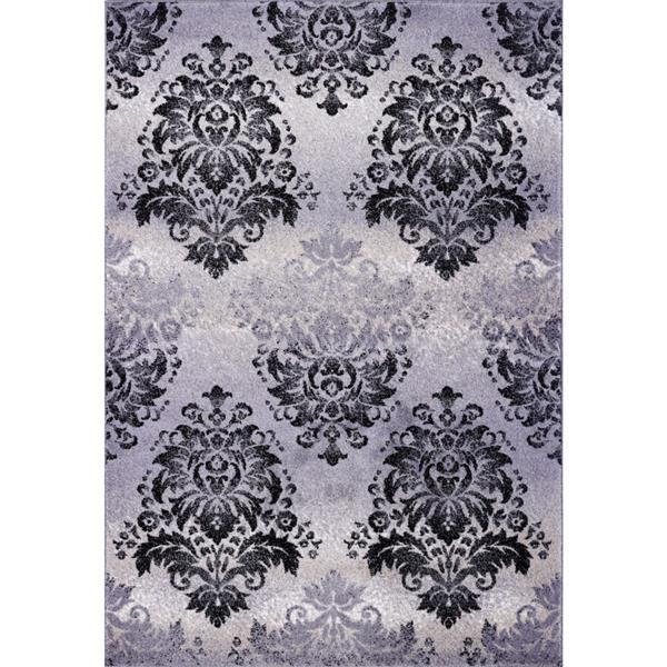 Tapis damassé rétro rectangulaire «Milan», 7' x 10', gris