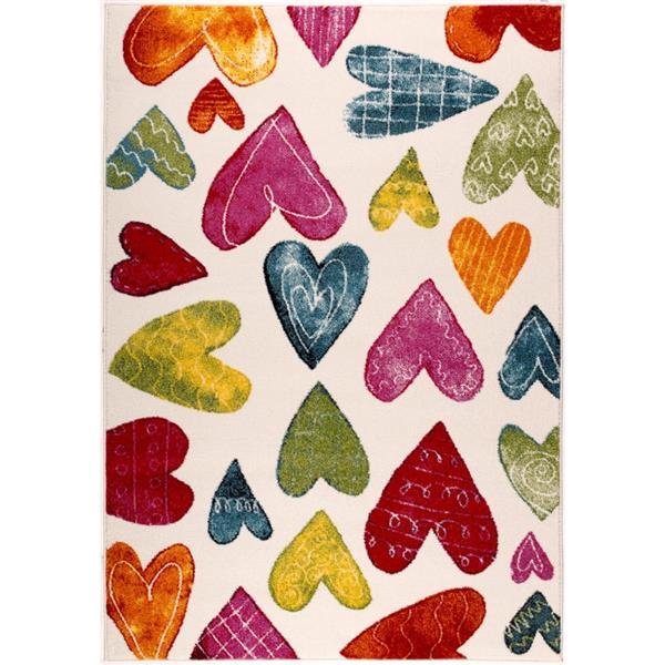 Tapis pour enfants à thème coeur, 5' x 8', crème/multicolore