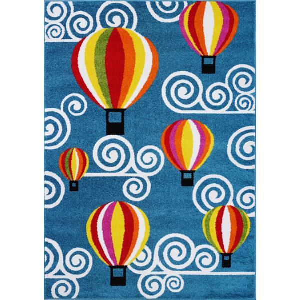 Tapis pour enfants montgolfière et ciel, 8' x 11', bleu