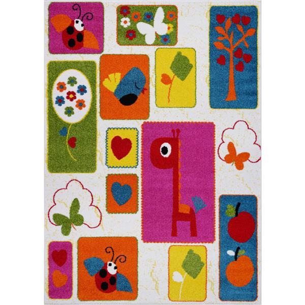 La Dole Rugs® Kids Nature Area Rug - 5' x 7' - Cream/Multicolour