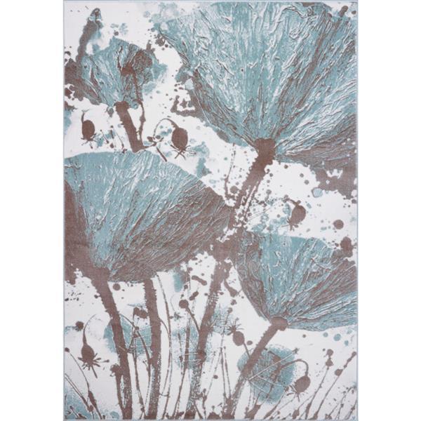 Tapis floral abstrait «Poppy», 7' x 10', bleu/crème