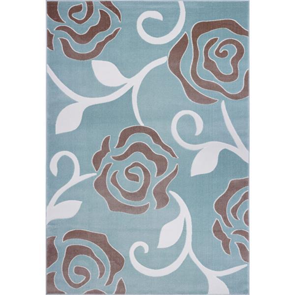 Tapis rose abstrait rectangulaire, 7' x 10', bleu clair