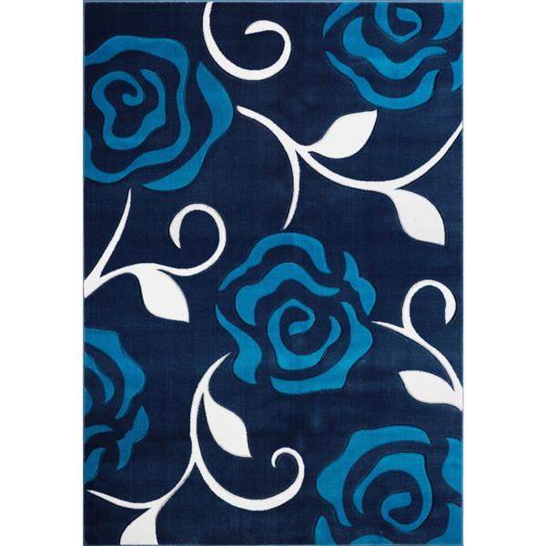 Tapis rose rectangulaire européen, 3' x 10', turquoise