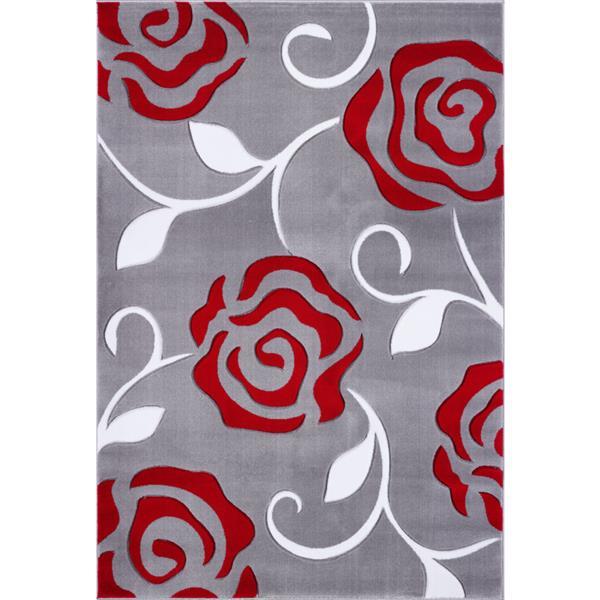 La Dole Rugs® Rose European Rectangular Area Rug - 5' x 8' - Grey