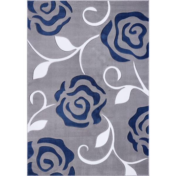 Tapis rose rectangulaire européen, 8' x 11', gris/bleu