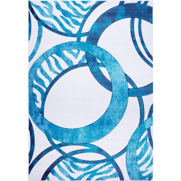 Tapis géométrique européenne «Rings», 7' x 10', bleu/blanc