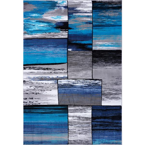 Tapis abstrait rectangulaire cuivre, 3' x 5', gris/turquoise