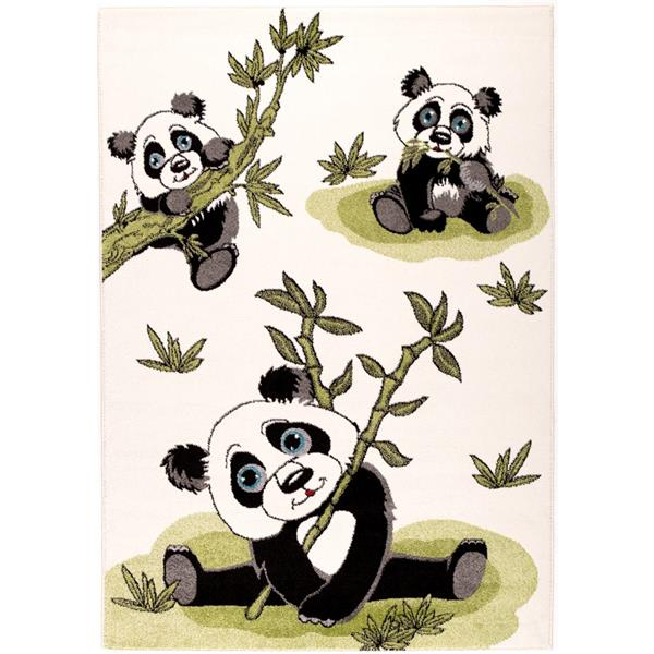 Tapis pour enfants panda et bambou, 7' x 10', crème/vert