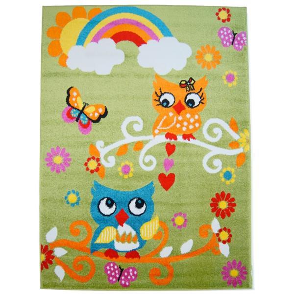 La Dole Rugs® Kids Owl Theme Area Rug - 5' 2-in x 7' 3-in - Green