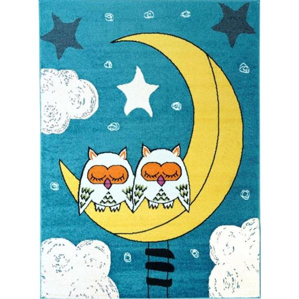 La Dole Rugs® Kids Owls and Sky Theme Area Rug - 5' 2-in x 7' 3-in - Blue