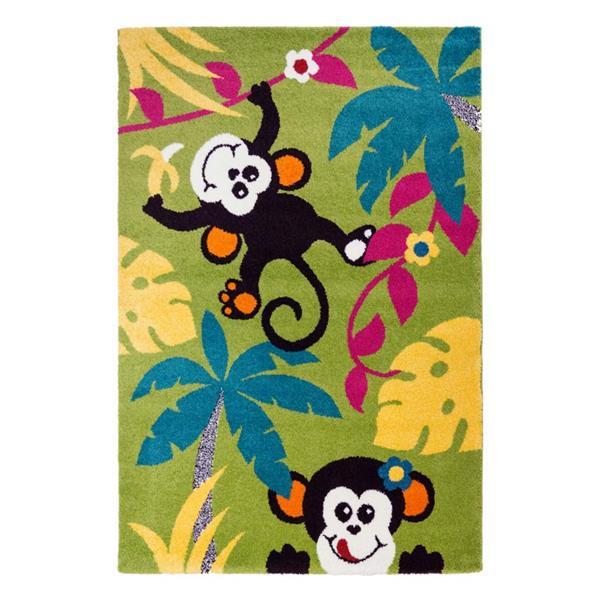La Dole Rugs® Kids Monkeys and Trees Rug - 5' 2-in x 7' 3-in - Multicolour