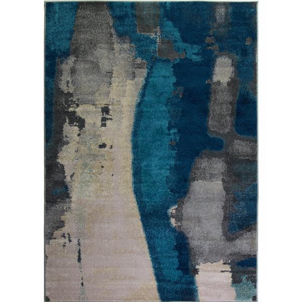 Tapis innovant rectangulaire abstrait, 8' x 11', crème/gris