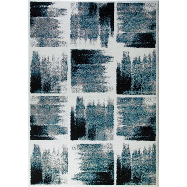 Tapis géométrique «Kensington», 7' x 10', sarcelle/ivoire
