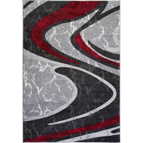 La Dole Rugs®  Innovative Spiral Abstract Area Rug - 7' x 10' - Grey/Black