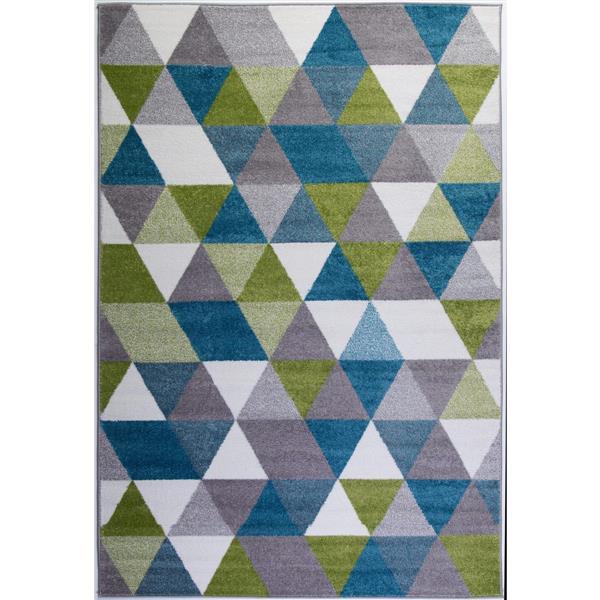 Tapis innovant spirale abstrait, 3' x 5', vert/bleu