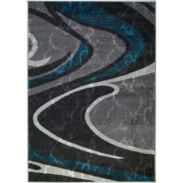 Tapis innovant spirale abstrait, 3' x 10', noir/gris