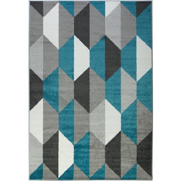 Tapis moderne géométrique «Honeycomb», 3' x 5', bleu/gris